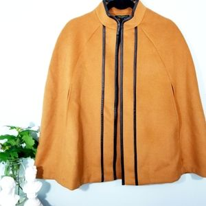 FOR CYNTHIA》golden brown wool blends cape poncho